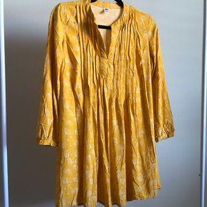 Marigold yellow floral mini sun dress